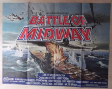 Battle of Midway, Original UK Quad Poster, CLASSIC WWII Image, Heston, Fonda, 76
